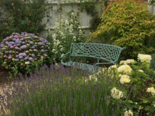 Blue metal bench